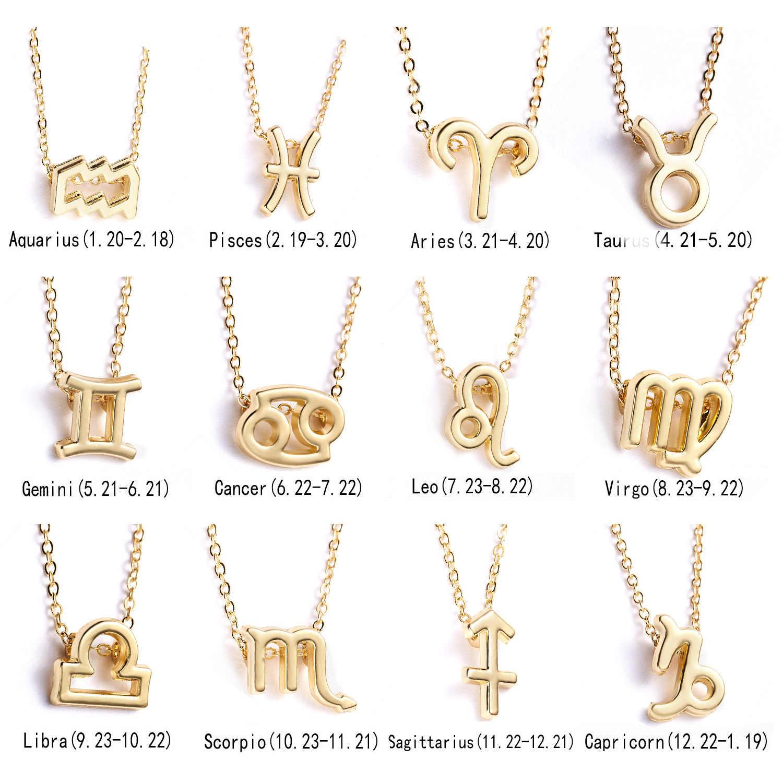 EPI 12 Rasi Liontin Emas Kalung Perhiasan Kalung Zodiak Tanda Kustom Kalung Hadiah Ulang Tahun Kartu Pesan untuk Wanita Gadis