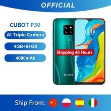 "Cubot P30 Smartphone 6.3 ""Waterdrop Scherm 2340X1080P 4Gb + 64Gb Android 9.0 Pie Helio p23 Ai Achter Triple Camera S Gezicht Id 4000Mah"