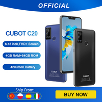 Cubot C20 Smartphone NFC 12MP Quad AI Camera 4GB+64GB Mobile Phones 4G LTE Celular 6.18 Inch FHD+ 4200mAh Android 10 Cell Phone 1