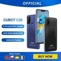 Cubot C20 12MP cuádruple cámara Quad cámara de IA 4GB+64GB Ampliables Smartphone Octa-core 4G LTE celular NFC Apoya Google Pay 6,18 pulgadas FHD + 4200mAh batería WIFI 2,4G/5G Android 10 SIM Dual teléfono móvil
