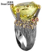 DreamCarnival 1989 מאוד ממליצים חם למכור גדול טבעת עבור נשים אמיתי לחתוך אוליבין הסגלגל זירקון חייב יש מסיבת תכשיטי WA11616