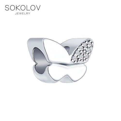 Suspension Charm SOKOLOV With Cubic Silver Fashion Jewelry 925 Women's Male