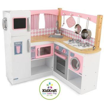 Kitchen Toys KidKraft  Big children\s wooden kitchen for girls Exquisite corner \(Grand Gourmet Corner children toys kids game childrens products home
