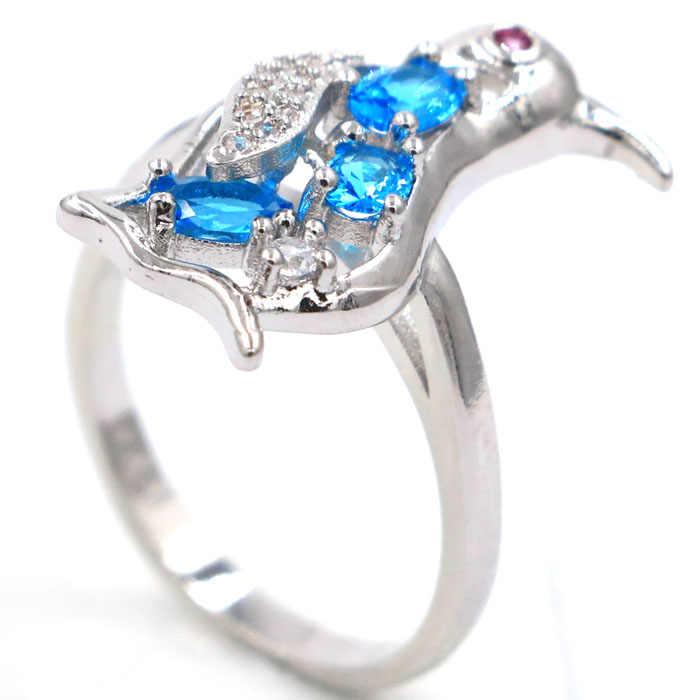 20x10 мм Романтический Пингвин Париж, голубой топаз, гранат CZ подарок для девочек серебряные кольца