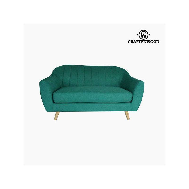 2 Seater Sofa Pine Wood Green Polyester (145x83x83 Cm) By Craftenwood