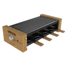Cecotec Raclette Cheese&Grill Wood. Potencia 1200 W, 8 Sartenes individuales, Termostato regulable, Diseño extraíble