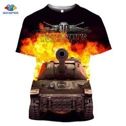 Nowa popularna gra World Of Tanks T Shirt mężczyźni/kobiety 3D drukowane koszulki z krótkim rękawem w stylu Harajuku Tshirt śmieszne kreskówkowe topy H55