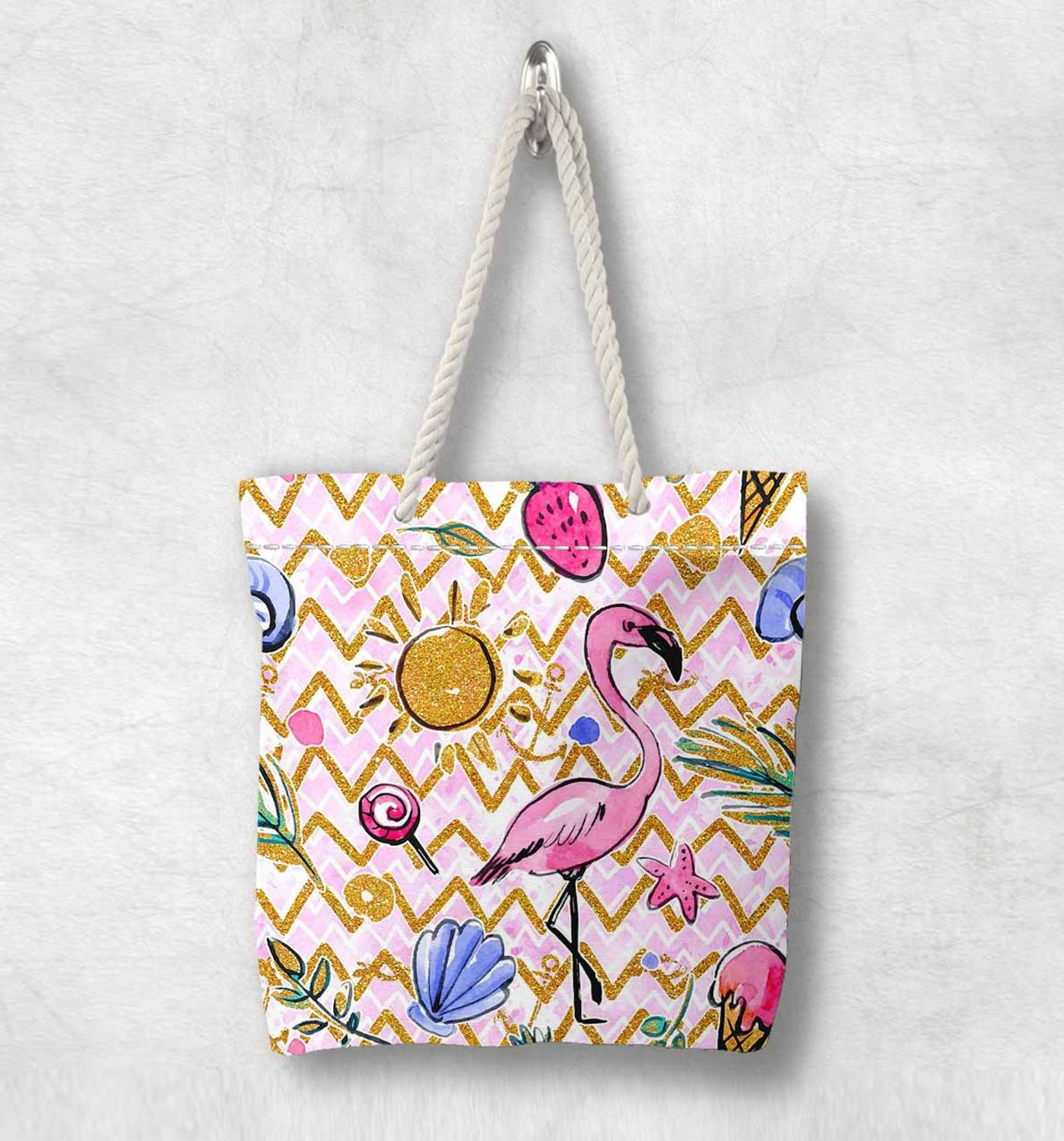 Else Pink Flamingo Animals Sun Sea Shells New Fashion White Rope Handle Canvas Bag Cotton Canvas Zippered Tote Bag Shoulder Bag