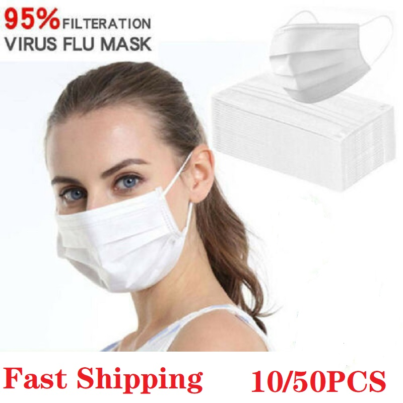 5/10/20/30/50Pcs White Masks Face Masks 3-Ply Face Disposable Masks Wholesale Strong Protection Masks Ear Loop In Stock
