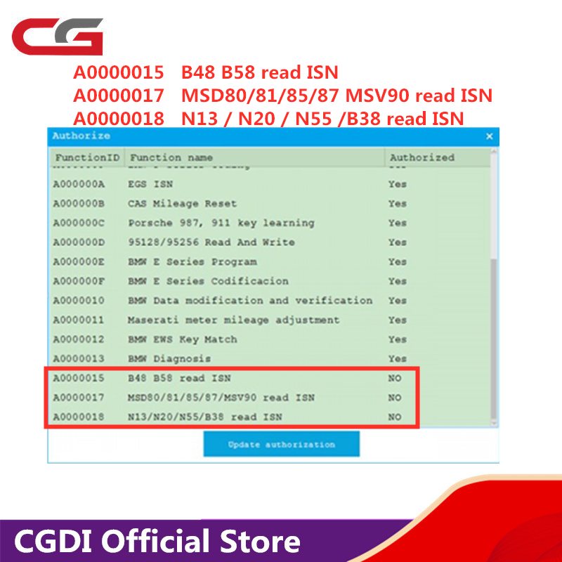 CGDI For BMW Upgrade MSV90/N20/N55/N13/B38/B48/B58/MSD80/MSD81/MSD85/MSD87 Read ISN No Need Opening Add In 24 Hours