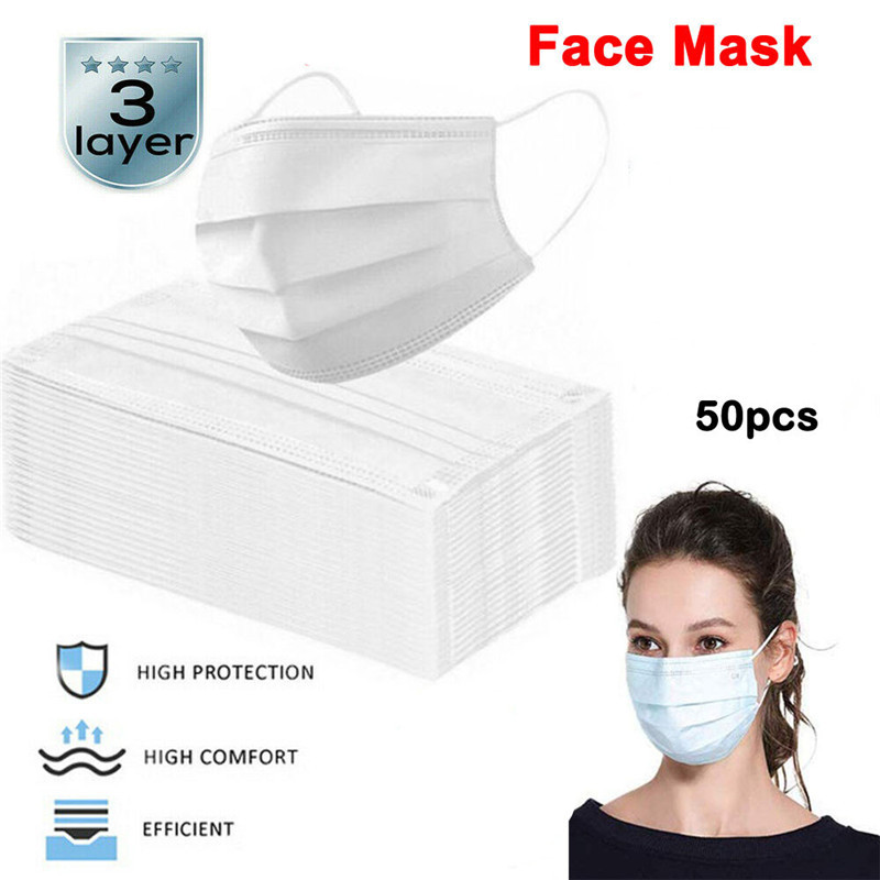 50PCS Disposable Mask White Blue Mouth Masks Men Women 3-Layer Nonwoven Fabric Face Masks Adults PM2.5 Anti-Dust Mask