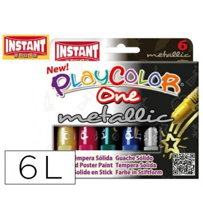 TEMPERA SOLIDA IN BAR PLAYCOLOR BOX SCHOOL 'S 6 COLORS ASSORTED MYLAR