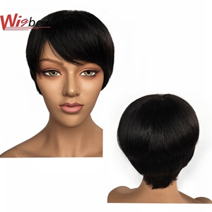 Cheap Short Wig Human Hair For Women Straight Peruvian Hair Pre-Plucked Lace Wig Natural Color 100% Human Hair Wigbow(China)