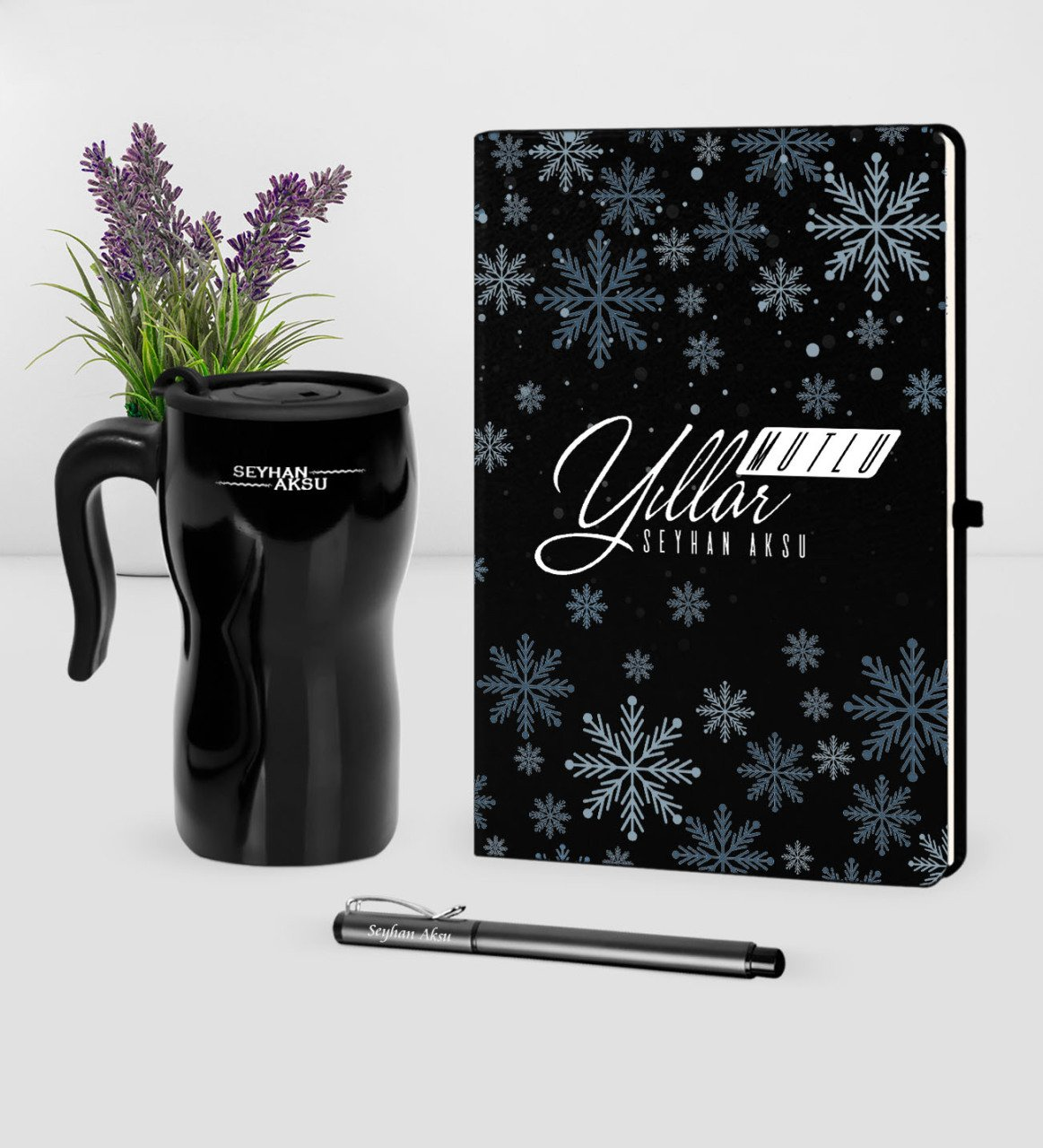 Personalized Christmas Happy birthday Themed Black Notebook Pen Thermos Mug Set-17