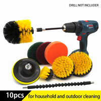 10Pcs Drill Brush Power Cleaning Scrubber nylons Brush Attachment Kit with Extender for Bathroom Tub, Shower, Tile and Car 1
