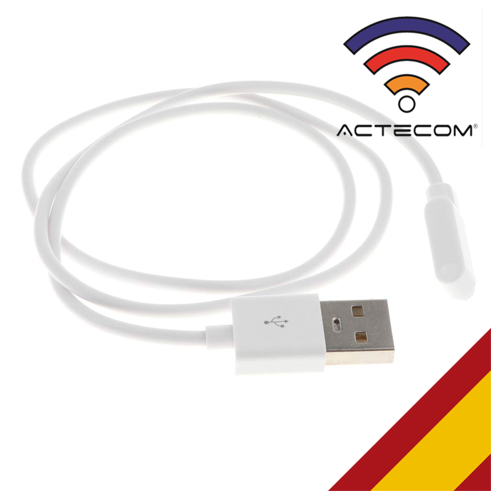 ACTECOM Cable De Carga USB Reloj Inteligente Conector Magnético 2 Pines Blanco