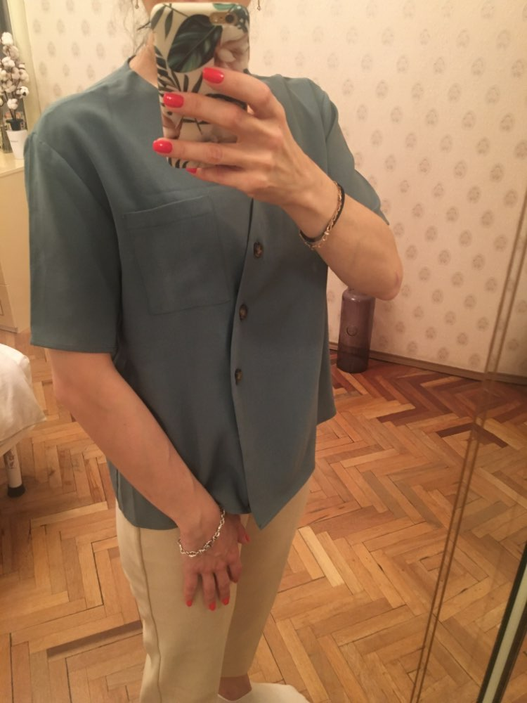 Oblique Buckle V Neck Women Summer Shirts Short Sleeve Blue Khaki White Korean Style Shirts Blouse Tops photo review