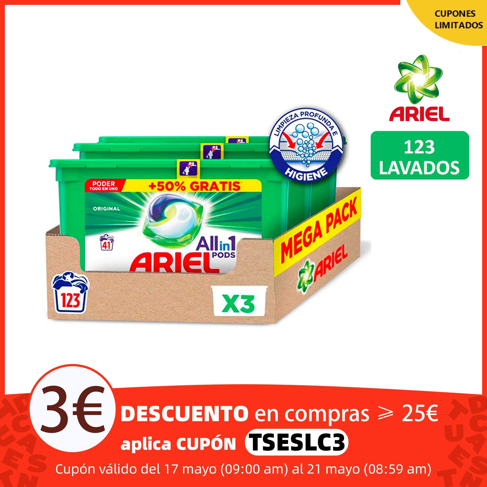 Ariel Allin1 Pods Original, 123 Lavados, Detergente Para la Ropa, 3 Paquetes de 41 Cápsulas,Poder De Limpieza y Perfume Duradero|Detergente para ropa| - AliExpress