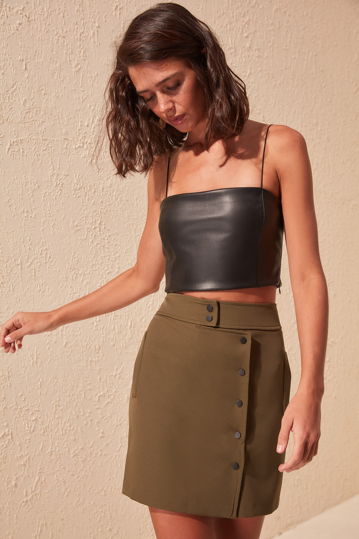 Trendyol Button Detail Pockets Skirt TWOSS20ET0298