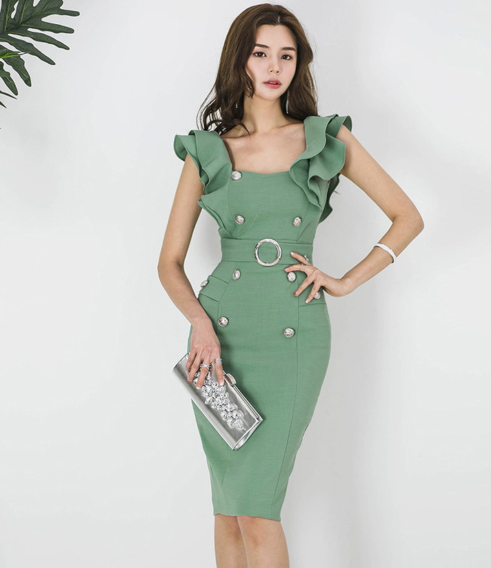 2021 summer women's dress, Korean version, slim fit, ruffle, double breasted, buttocks, thin, medium and long bottomed dress 1