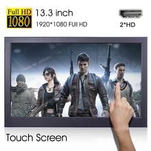Портативный сенсорный экран 13,3 дюйма, двойной hd-монитор mi HD 1080P, портативный компьютерный сенсорный монитор для ps4, переключатель xbox one, ноутб...