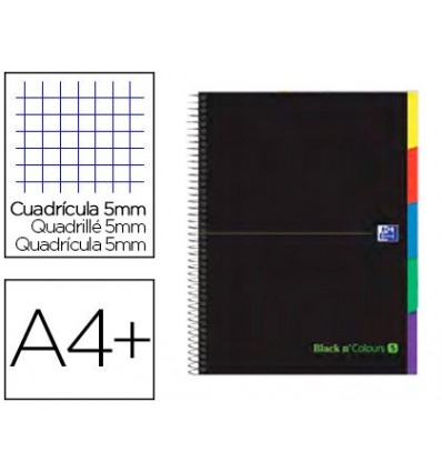 SPIRAL NOTEBOOK OXFORD EBOOK 5 TOP EXTRADURA DIN A4 + 100 H WITH STRIPPERS GRID 5 MM BLACK'N COLORS GREEN 5 Units