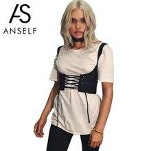 Anself Women Lace Up Waistband Corset Belt Bustiers Curve Shaper Tie Up Back Zipper High Waist Belt Plus Size XL Crop Top Female