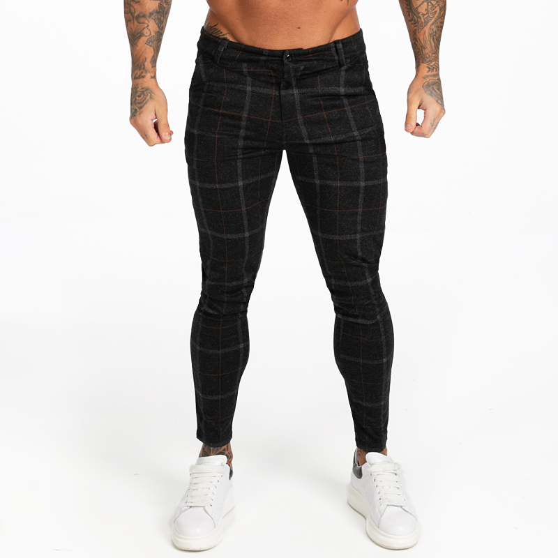 GINGTTO Men Skinny Chino Pants Autumn Winter Black Plaid Pants Skinny Pant Men High Waist DROPSHIPPING Zm383