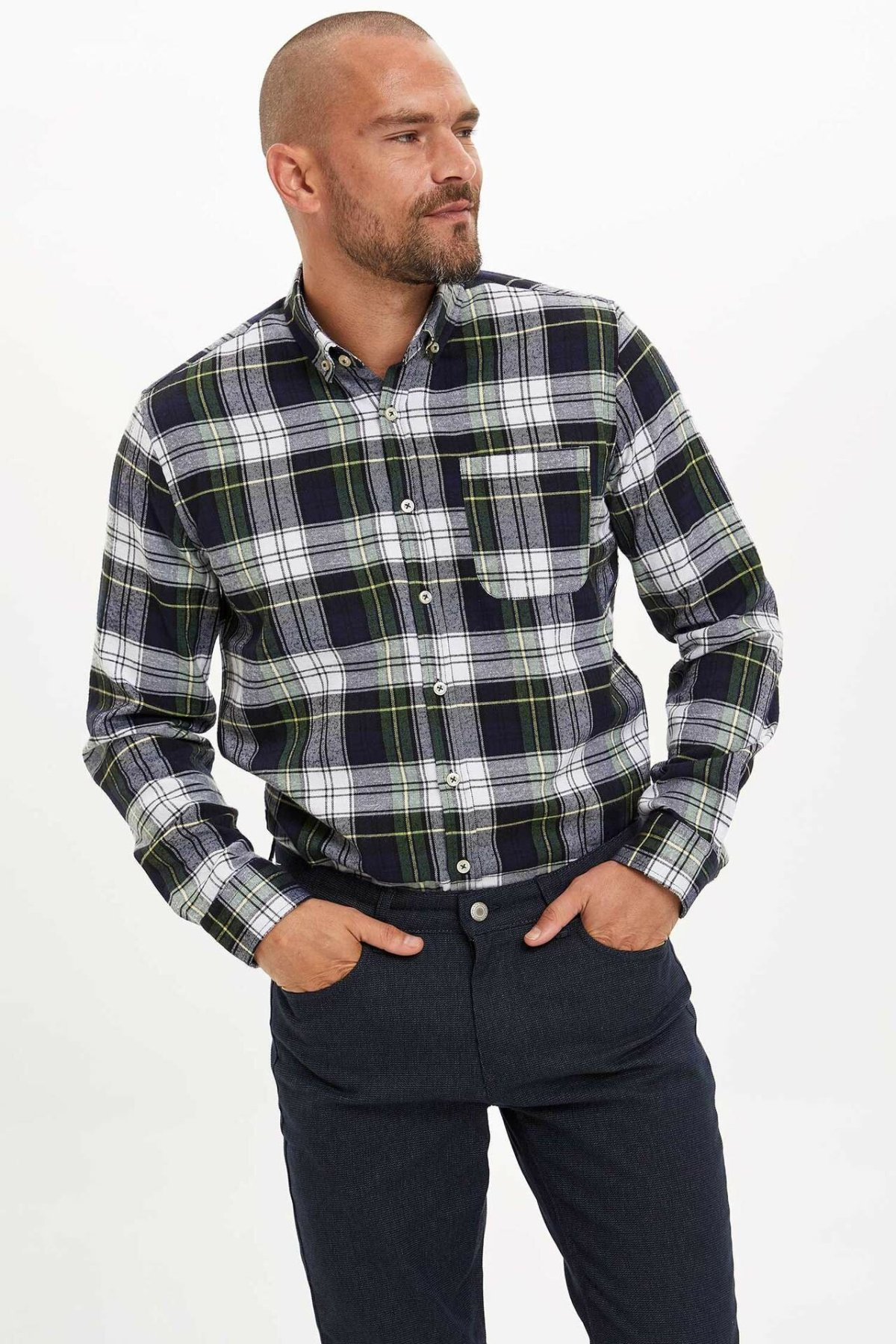 DeFacto Fashion Men Long Sleeve Shirt Men Lapel Casual Plaid High Quality Blouses Male Comfort Loose Shirts Autumn-M3906AZ19WN