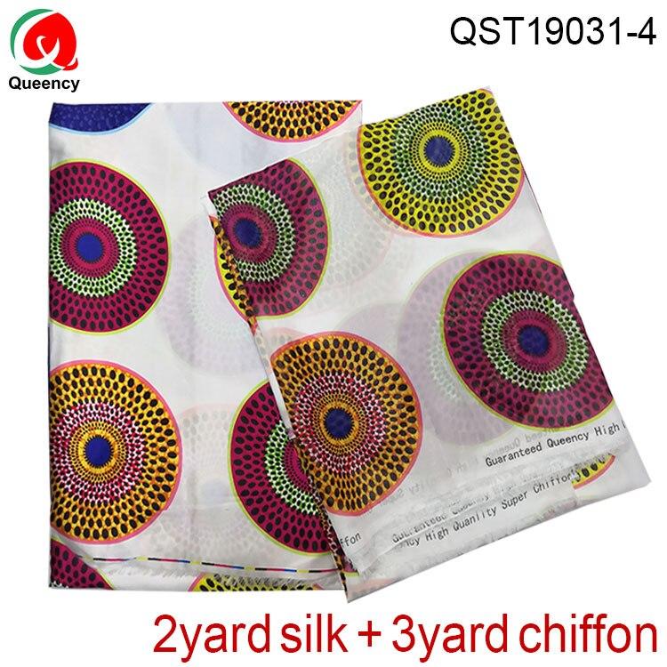 QST19031-Satin et mousseline de soie ensemble nigéria amérique femmes robe tissu ankara imprimer 2y soie + 3y mousseline de soie matériel pour la couture