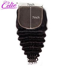Волосы Celie 7x7, кружевная застежка, свободная глубокая волна, Remy, бразильские человеческие волосы, застежка 10-20 дюймов, предварительно выщипан...