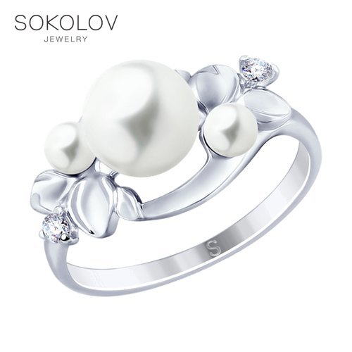 Ring. Sterling Silver With Pearls And Cubic Zirkonia Fashion Jewelry 925 Women's/men's, Male/female