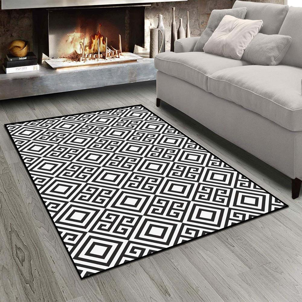 Else Black White Geometric Ethnic Morrocan Tiles  3d Print Non Slip Microfiber Living Room Modern Carpet Washable Area Rug Mat