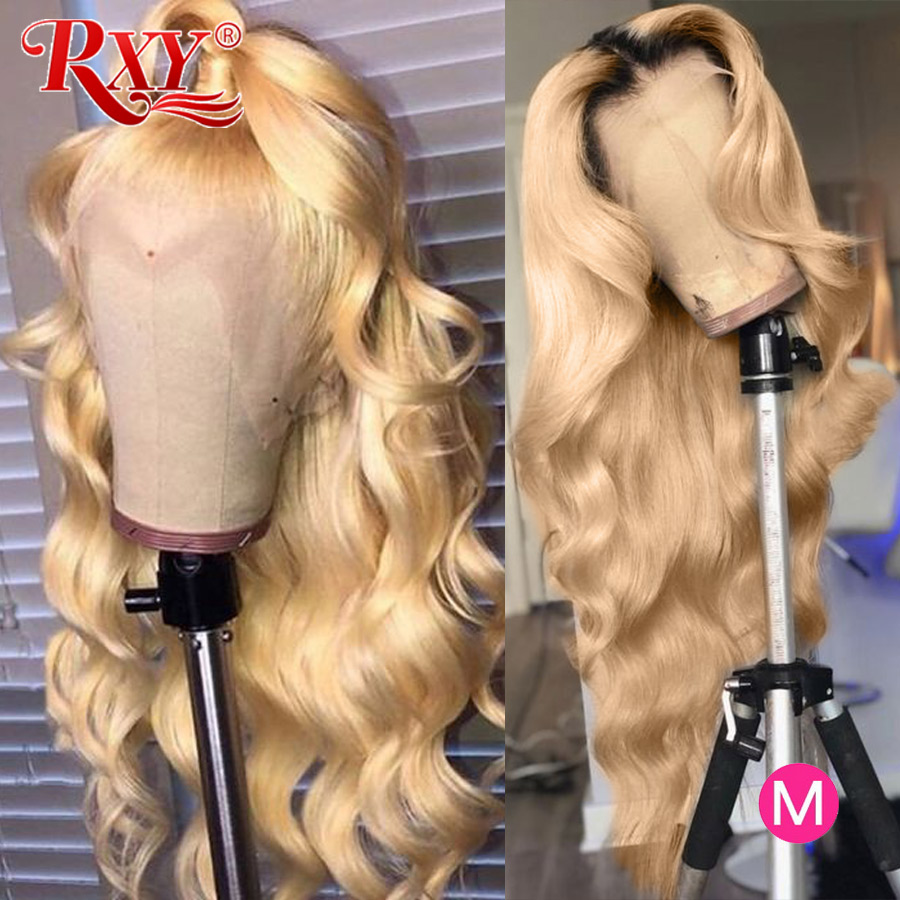 RXY 613 Lace Front Wig Honey Blonde Lace Front Human Hair Wigs Body Wave Transparent Lace Wigs 613 Frontal Wig Remy Blonde Hair image