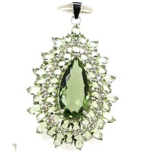 48x30mm 7.5g Deluxe Pearl Shape Created Green Amethyst Real 925 Solid Sterling Silver Pendant 48x30mm