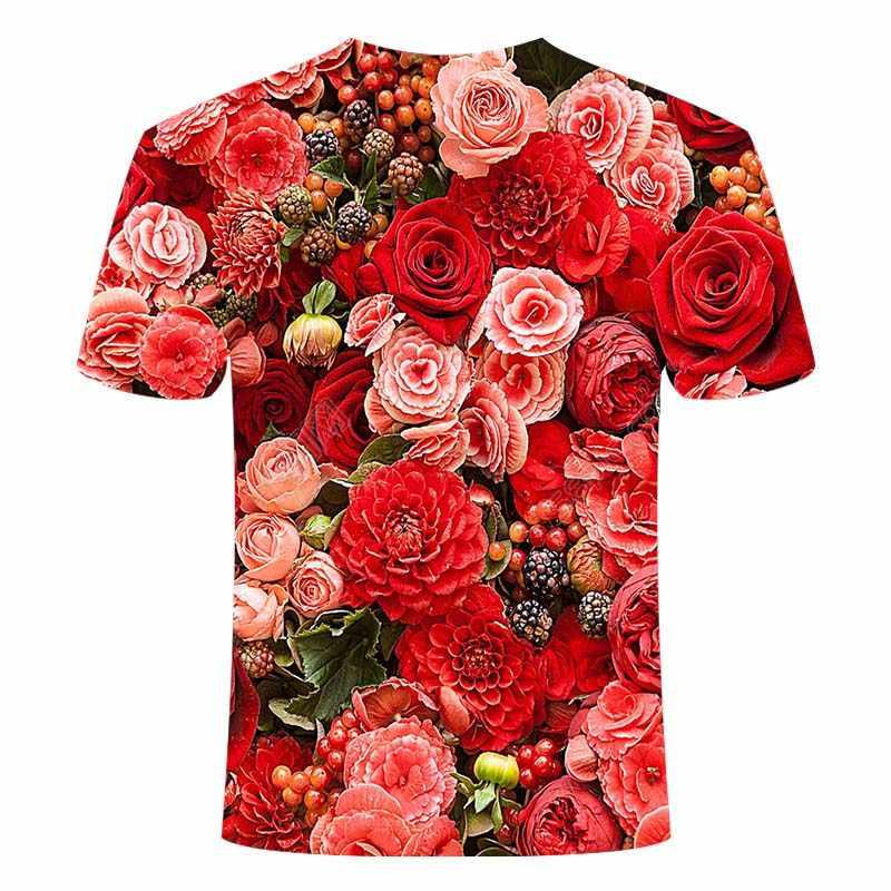 ファッション男性/女性ルースtシャツ半袖フラワープリントカジュアルoネックtシャツ 3D新鮮な花のティーXXS-6XL外出女性トップ