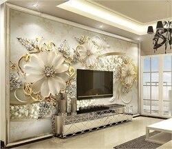 3D фотообои Роскошные Золотые цветы. Для зала, гостиной или спальни. Любые размеры. Быстрая доставка по России.
