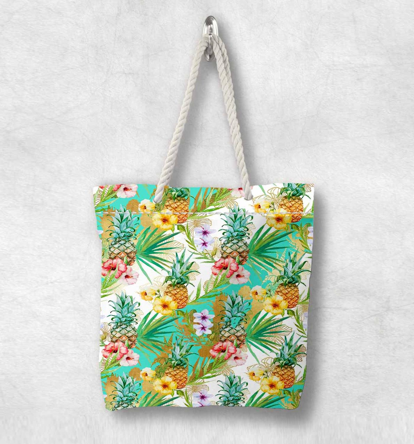 ElseTropical  Green Leaves Pineapple Fruit New Fashion White Rope Handle Canvas Bag Cotton Canvas Zippered Tote Bag Shoulder Bag