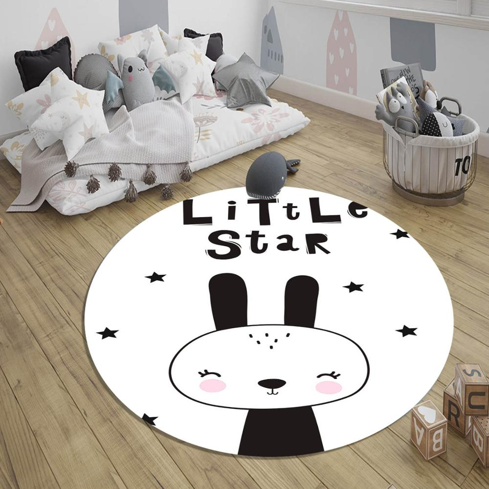 Else Gray White Little Stars Bunny Rabbit 3d Pattern Print Anti Slip Back Round Carpets Area Rug For Kids Baby Children Room