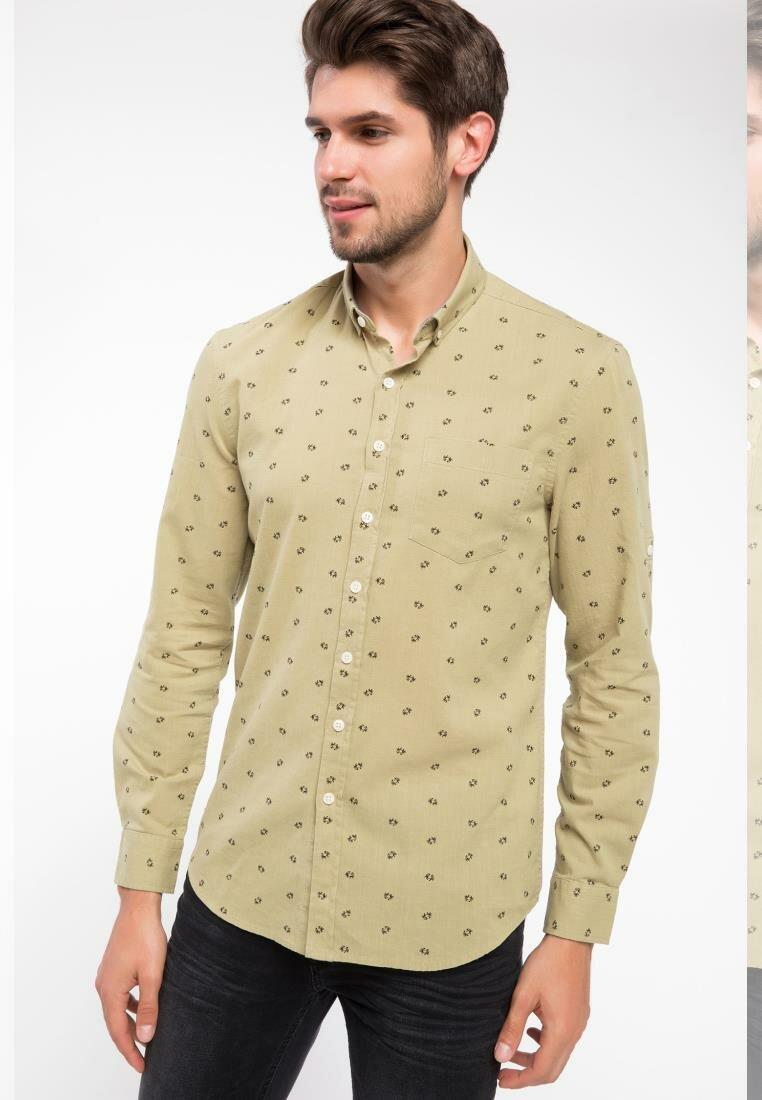 DeFacto Men Smart Casual Woven Shirt Print Yellow Top Long Sleeve Cotton Slim Male Shirt I5027AZ18SMGN776-I5027AZ18SM