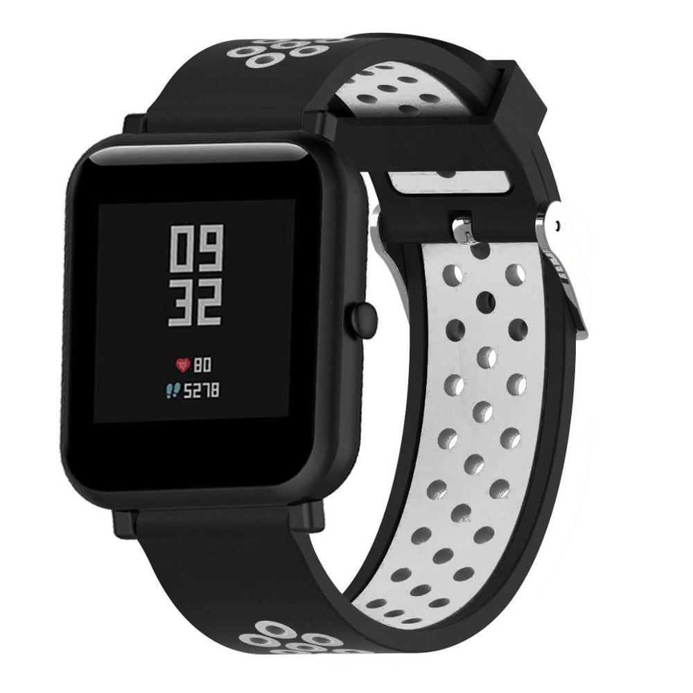 Correas pulsera de recambio para Xiaomi Amazfit BiP Amazfit GTS silicona flexible de colores impermeable y suave cierre de metal 2
