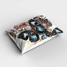 Fundas de almohada modernas rectangulares Vintage mariposa Verde Floral marrón más fundas de almohada de estampado digital 3d fundas para sofá cama