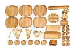 Set de desayuno de bambú de 53 Piezas con icono de bambú, regalo para el hogar, 100% bambú Natural, libre de BPA, caja de almacenamiento