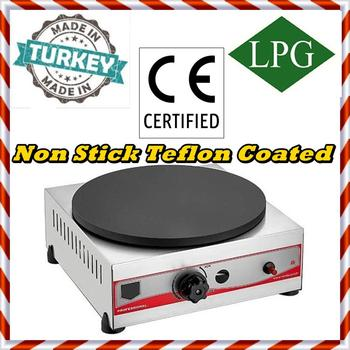 Non-Stick TEFLON COATED SINGLE 40 cm COOKER PROPANE GAS Commercial CREPE Pancake Griddle Maker Machine PROFESSIONAL цена 2017