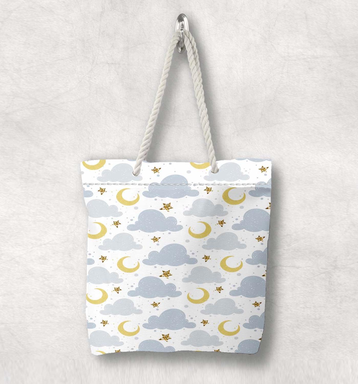 Başka bir gri bulutlar sarı ay yıldız yeni moda beyaz halat kolu kanvas çanta karikatür baskı fermuarlı Tote çanta omuzdan askili çanta