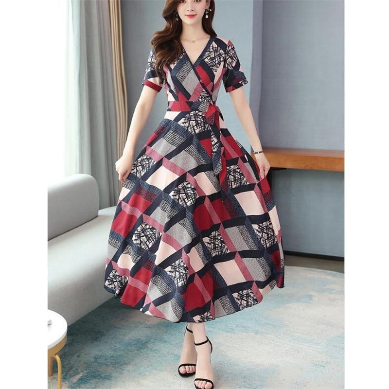 Chiffon dress 2020 Korean summer new temperament lady waist was thin and big swing long fashion floral dress women