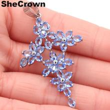 53x30mm Classic Long Cross Violet Tanzanite Flower Shape Gift For Mother Silver Pendant