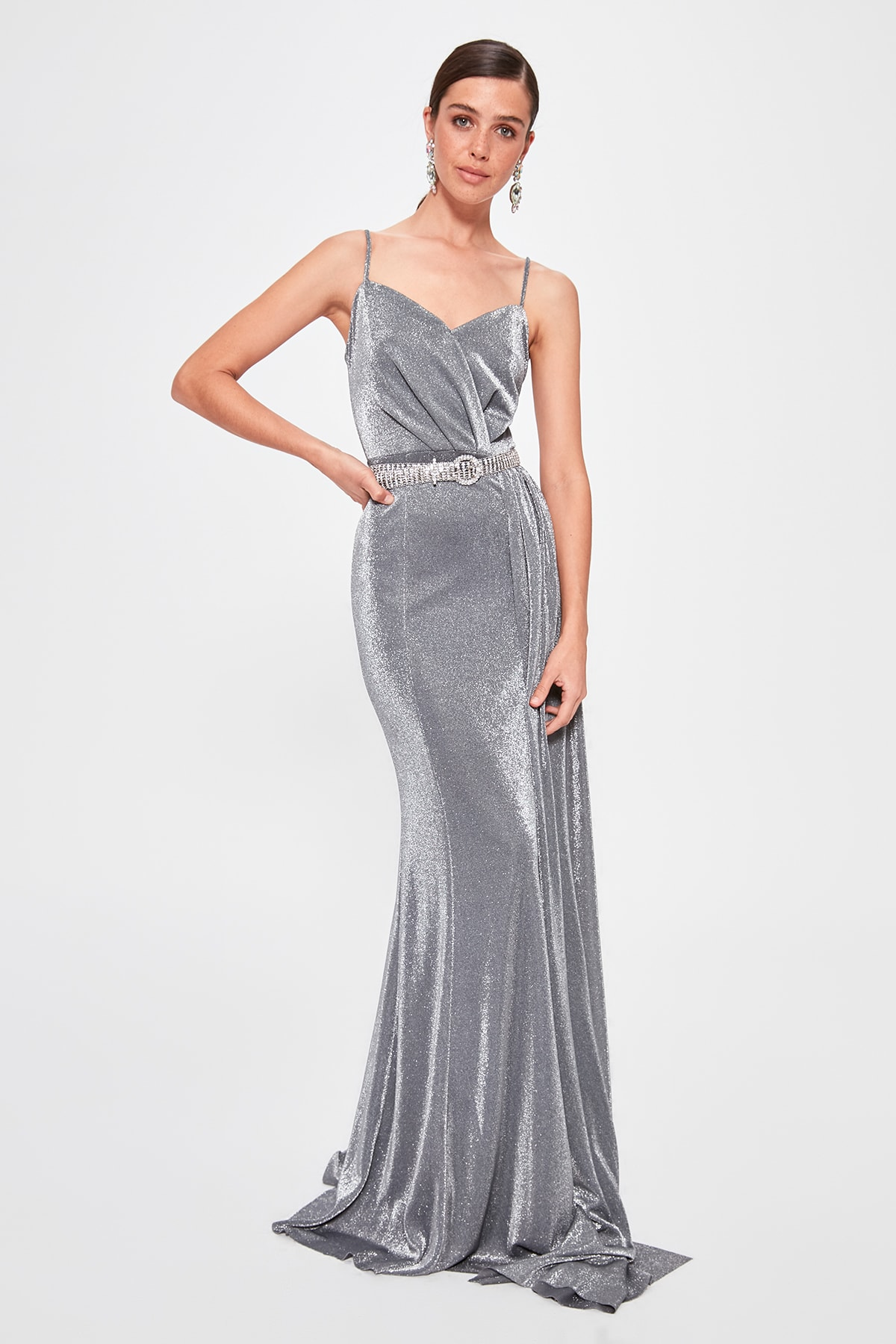 Trendyol Silver Drape Detail Evening Dress Dress TPRSS19AE0127