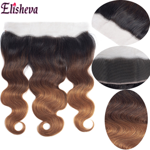 Image 5 - Elisheva Ombre Bundles with Frontal 1b 4 30 bundles with closure Body Wave Remy Brazilian Hair Weave Bundles With Closure 150