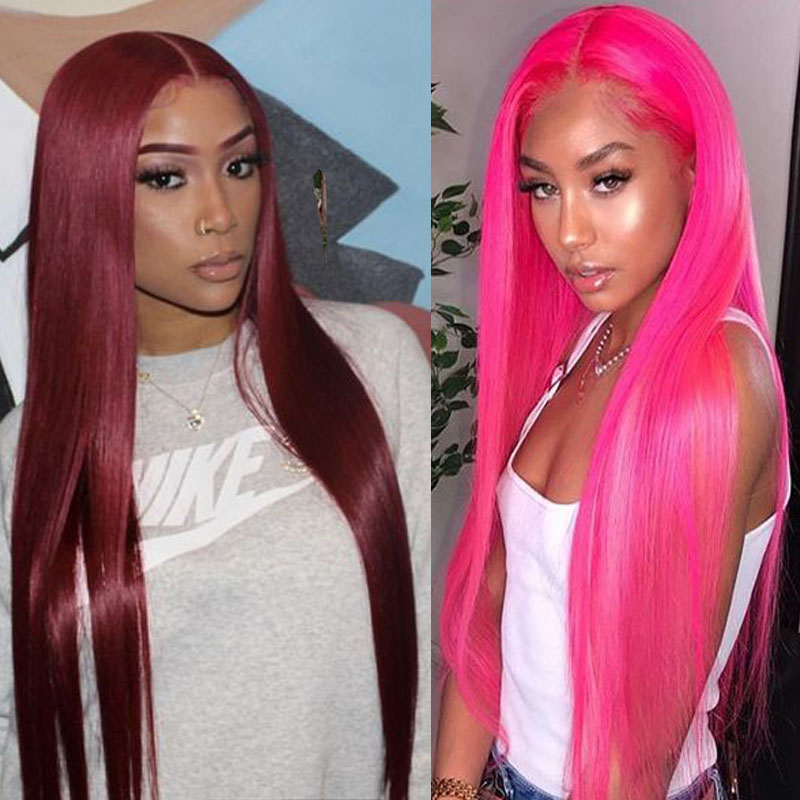 BETTYLOVE Long Hair Straight Synthetic Lace Front Wig Pink Fiber Hair Cosplay Wigs For Women Red Color Heat Resistant Lace Wig
